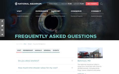 Screenshot of FAQ Page aqua.org - National Aquarium | FAQ - captured May 22, 2018