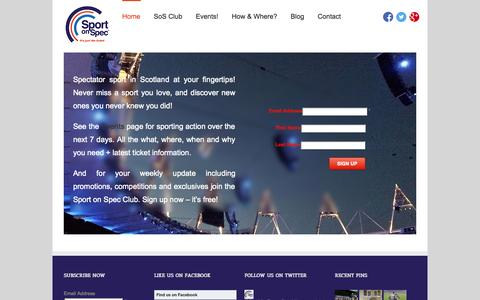 Screenshot of Home Page sportonspec.co.uk - Sport On Spec Home - Sport On Spec - captured Oct. 1, 2014
