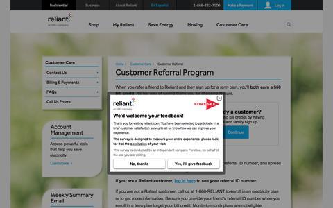 Customer Referral | Reliant Energy