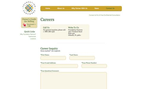 Screenshot of Jobs Page foundationpartners.com - Foundation Partners - Contact us - captured Oct. 6, 2014