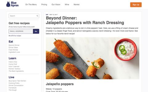 Screenshot of blueapron.com - Jalapeño Poppers with Ranch Dressing | Blue Apron Blog - captured May 19, 2017