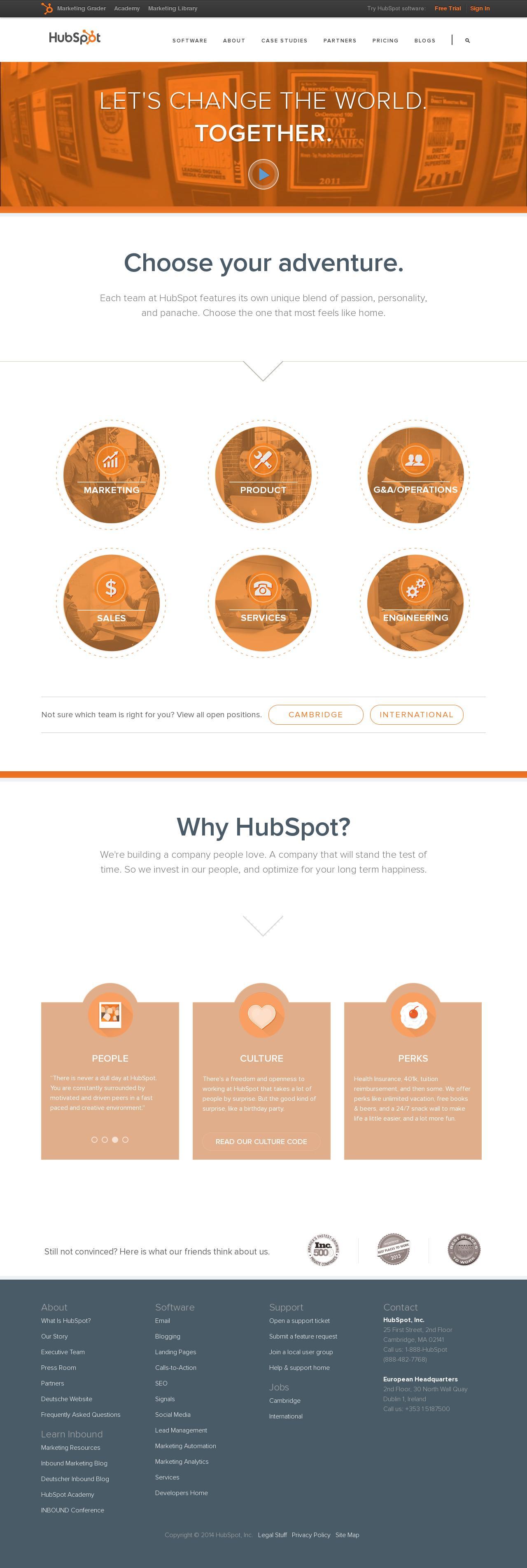 Screenshot of hubspot.com - HubSpot Careers - captured July 18, 2014