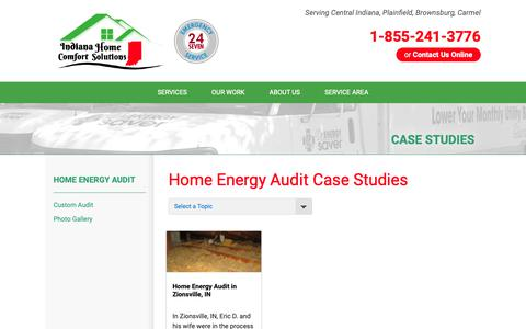 Screenshot of Case Studies Page indianahomecomfortsolutions.com - Indiana Home Comfort Solutions - Home Energy Audit Case Studies - captured Sept. 28, 2018