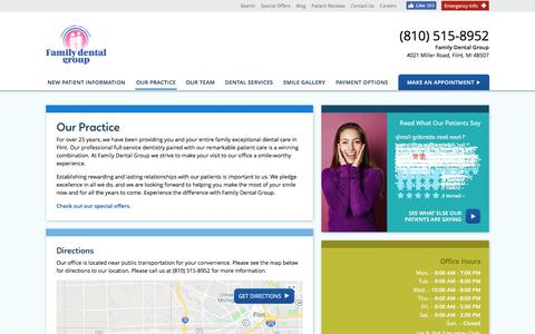 Screenshot of Hours Page flintfamilydentist.com - Our Practice - Family Dental Group, Flint MI - captured July 3, 2018