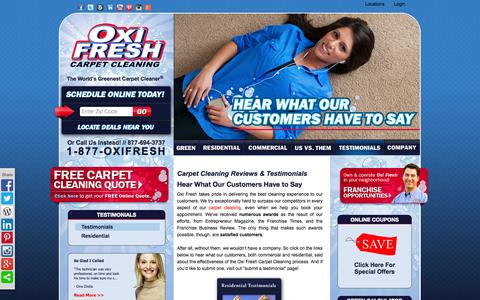 Screenshot of Testimonials Page oxifresh.com - Carpet Cleaning Reviews & Testimonials | Oxi Fresh - captured Oct. 26, 2014