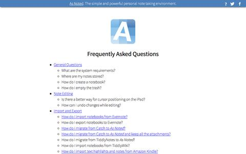 Screenshot of FAQ Page asnoted.com - As Noted FAQ - captured April 23, 2016