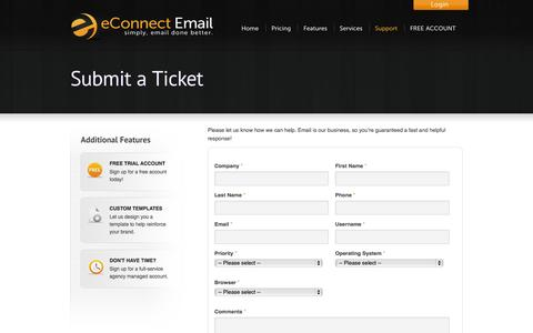Screenshot of Support Page econnectemail.com - Web Based Email Marketing Campaign Software -  eConnect Email Support - captured Oct. 28, 2014