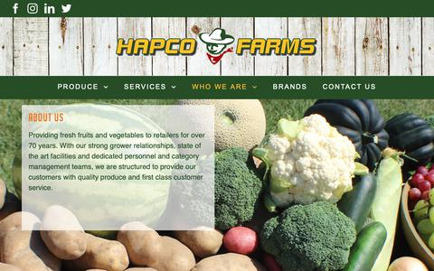 Screenshot of About Page hapcofarms.com - Hapco Farms - captured Sept. 27, 2018