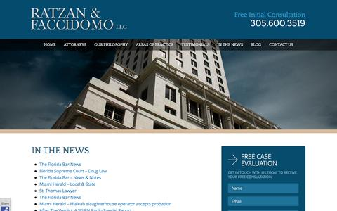 Screenshot of Press Page rflawgroup.com - In The News | Ratzan & Faccidomo | Criminal Lawyer in Miami - captured Oct. 26, 2014