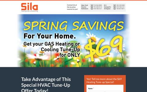 Screenshot of Landing Page sila.com - $69 Heating Tune-Up Special! - captured March 2, 2016