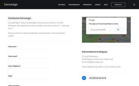 Screenshot of Contact Page senseego.com - Agence Marketing Digital : Devis & contact | Senseego - captured Oct. 20, 2018