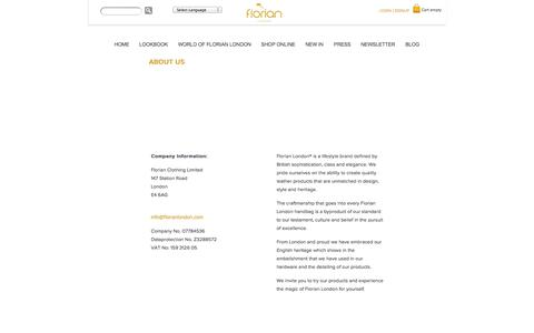 Screenshot of About Page florianlondon.com - About Us | World of Florian London - captured Sept. 30, 2014