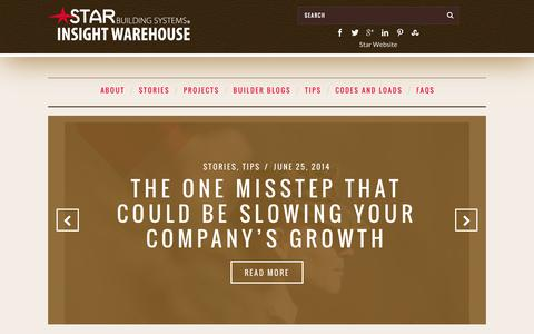 Screenshot of Blog starbuildings.com - Starbuilding Systems Insight Warehouse - captured Oct. 6, 2014