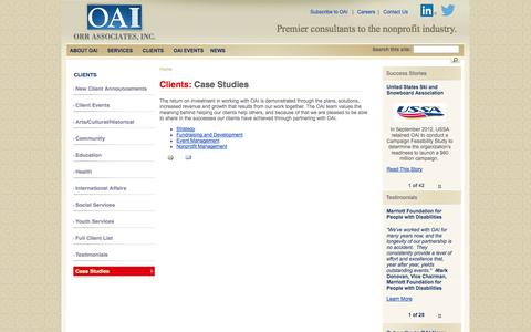 Screenshot of Case Studies Page oai-usa.com - Case Studies | Orr Associates, Inc. - captured Oct. 7, 2014
