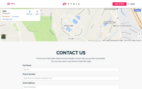 Screenshot of Contact Page vydia.com - Contact Us - Quickly Get In Touch By Filling Out Our Information Form | Vydia - captured March 13, 2017