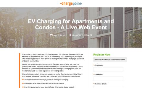Screenshot of Landing Page chargepoint.com - EV Charging for Apartments and Condos - A Live Web Event - captured Oct. 29, 2016