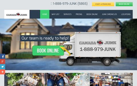 Screenshot of Home Page canadajunk.com - Junk Removal by Toronto's Canada Junk - Disposal of JunkCanada Junk - captured Oct. 1, 2014