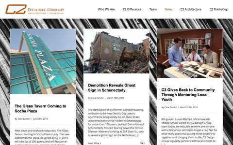 Screenshot of Press Page c2-designgroup.com - C2 Design Group | News - captured July 9, 2016