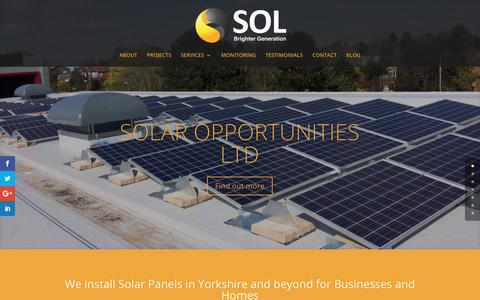 Screenshot of Home Page energybysol.co.uk - Solar Panels Yorkshire | Solar Opportunities Ltd - captured Oct. 22, 2017