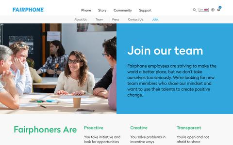 Screenshot of Jobs Page fairphone.com - Jobs - Fairphone - captured July 6, 2017