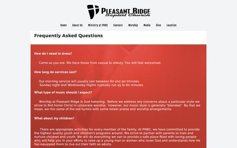 Screenshot of FAQ Page pleasantridgebaptist.org - FAQ «  Pleasant Ridge Baptist Church - captured Nov. 8, 2016