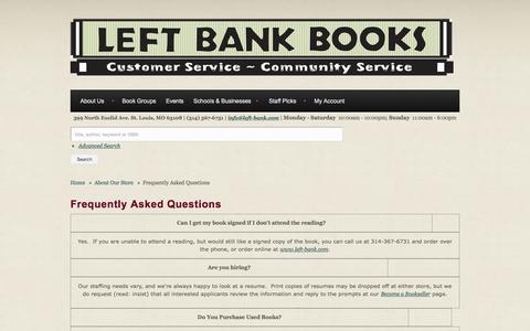 Screenshot of FAQ Page left-bank.com - Frequently Asked Questions | Left Bank Books - captured Nov. 5, 2016