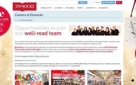 Screenshot of Jobs Page dymocks.com.au - Jobs with Dymocks – Love books? Start your career with Dymocks - captured Nov. 20, 2016
