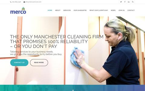 Screenshot of Home Page mercoservices.com - Commercial Cleaning Services - Manchester | Merco Facilities Services - captured Oct. 17, 2018
