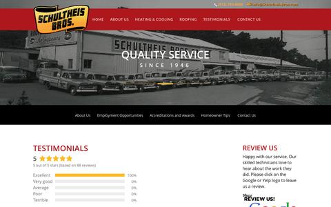 Screenshot of Testimonials Page schultheisbros.com - Reviews of Schultheis Bros - Heating, Cooling, Roofing and Plumbing - captured Oct. 2, 2018