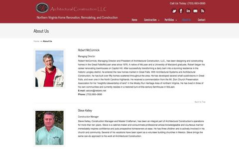 Screenshot of About Page architecturalconstruction.com - About Us «  Architectural Construction – Northern Virginia Custom Homebuilders – Renovation, Remodeling, and New Construction - captured Sept. 30, 2014