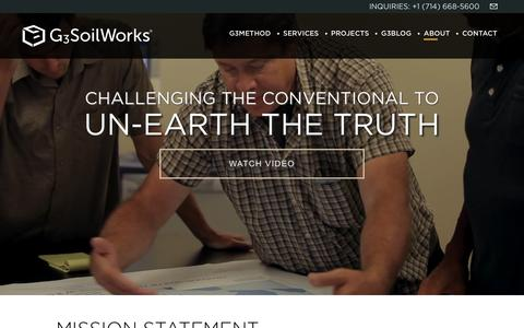 Screenshot of About Page g3soilworks.com - :: G3SoilWorks :: About G3SoilWorks - captured Feb. 23, 2016