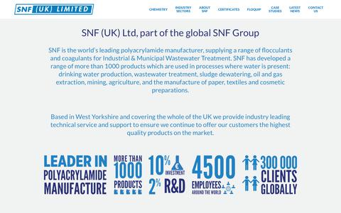 Screenshot of Home Page snf.co.uk - Waste Water Treatment Specialists | SNF UK - captured Sept. 30, 2017