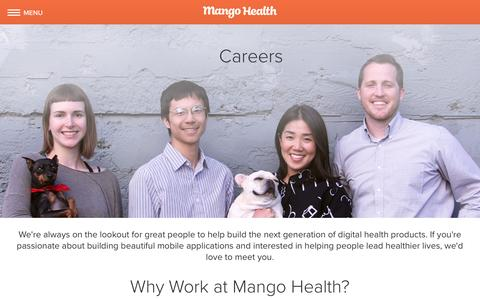 Screenshot of Jobs Page mangohealth.com - Mango Health Careers - Open Roles - captured July 4, 2016