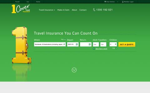 Screenshot of Home Page 1cover.com.au - Travel Insurance - 1Cover - You Can Count On Us - captured Jan. 23, 2015
