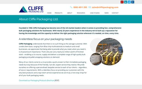 Screenshot of About Page cliffepackaging.com - About Us - Cliffe Packaging Ltd - captured Sept. 28, 2018