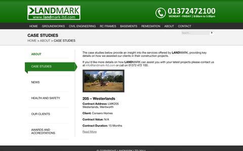 Screenshot of Case Studies Page landmark-ltd.com - CASE STUDIES «  LANDMARK - captured Sept. 26, 2014
