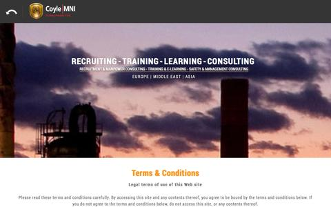 Screenshot of Terms Page coyle-group.com - Coyle Group   International Recruitment, Training and Safety Solutions - captured Nov. 2, 2014