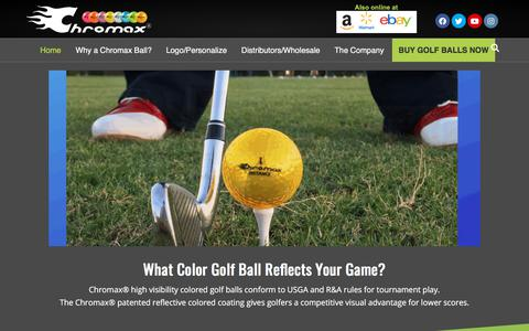 Screenshot of Home Page chromaxgolf.com - Chromax Colored Golf Balls | USGA Approved. Buy Highly Reflective Colors - captured July 1, 2019