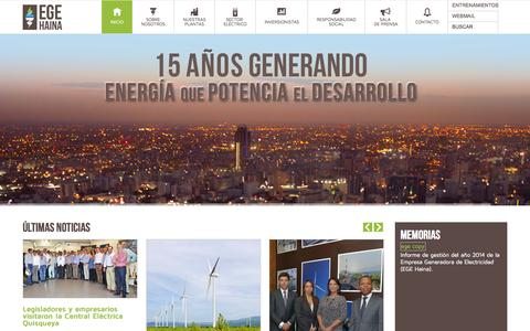 Screenshot of Home Page egehaina.com - EGE Haina - Energia que potencia el Desarrollo - captured July 3, 2015