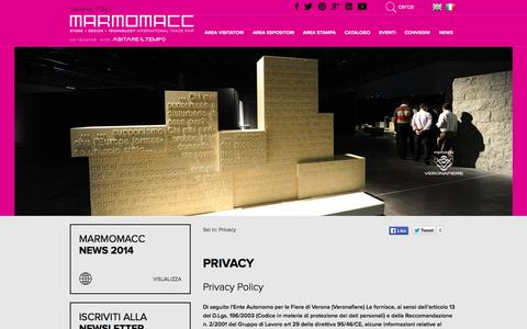 Screenshot of Privacy Page marmomacc.com - Privacy Policy - captured Oct. 27, 2014