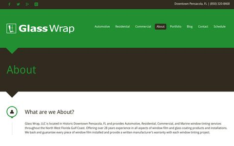 Screenshot of About Page glasswrap.com - Glass Wrap | About - Pensacola, FL - captured Nov. 4, 2015