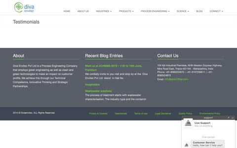 Screenshot of Testimonials Page divaenvitec.com - Testimonials   Diva Envitec Pvt Ltd - captured Nov. 14, 2018