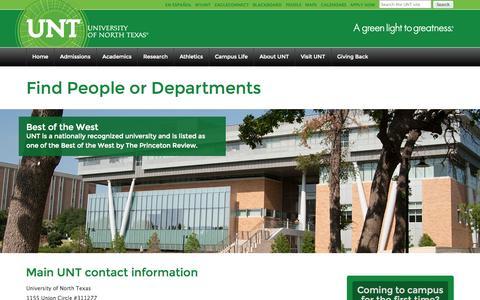 Screenshot of Team Page unt.edu - Find People or Departments | UNT | University of North Texas - captured Sept. 18, 2014