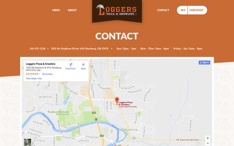 Screenshot of Contact Page loggerspizza.com - Logger's Gourmet Pizza - captured Nov. 10, 2016