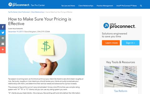 Screenshot of Pricing Page intuit.com - How to Make Sure Your Pricing is Effective | Tax Pro Center | Intuit ProConnect - captured Nov. 21, 2019
