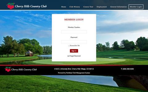 Screenshot of Login Page chcc.com - Member Login - Cherry Hill Country Club - captured Nov. 5, 2016