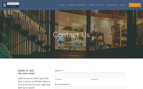 Screenshot of Contact Page rourkebuilders.com - CONTACT — Build Your Home in the Lakes Region - captured Nov. 13, 2017