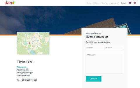 Screenshot of Contact Page tizin.nl - Contact – Tizin - captured Oct. 19, 2018
