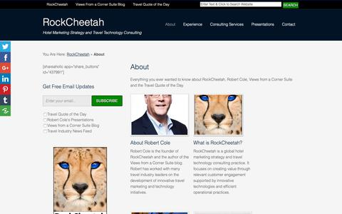 Screenshot of About Page rockcheetah.com - About RockCheetah's Robert Cole, Blog and his Travel Quotes of the Day - captured Oct. 18, 2018