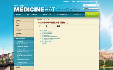 Screenshot of Signup Page medicine-hat.ab.ca - City of Medicine Hat : Sign-up/Register ... - captured Oct. 2, 2014